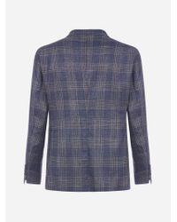 Blazer Montecarlo in lana e seta check di Tagliatore in Blue da Uomo