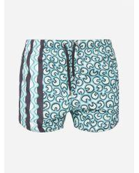 Neil Barrett Blue Printed Swim Shorts for men
