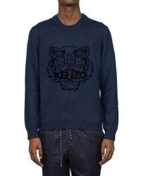 KENZO Blue Flocked Logo Sweater for men
