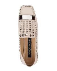 Sergio Rossi Multicolor Metal Plaque Leather Loafers
