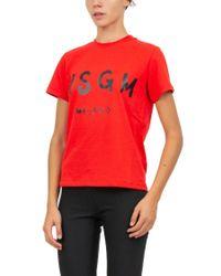 MSGM Red Logo Cotton Jersey T-shirt