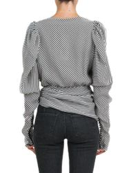 Magda Butrym Gray Asymmetric Draped Silk Blouse