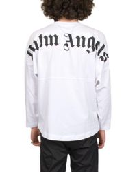 T-SHIRT LOGO di Palm Angels in White da Uomo