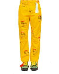 PANTALONE CHINO LOGO di Off-White c/o Virgil Abloh in Yellow da Uomo