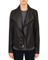 VINCE | Black Scuba Leather Jacket | Lyst