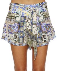 Camilla Blue Weave Humanity Pleat Detail Short W/ Sash