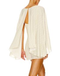 Camilla Natural Dream Days Beaded Printed Cape Playsuit