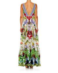 Camilla Green Tiered Silk Crepe Maxi Dress