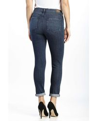 PAIGE - Blue Hoxton High Rise Crop Roll Up Jean With Destruct - Lyst