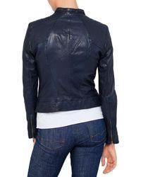 BOSS Orange Blue Janabelle Biker Leather Jacket