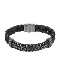 John Hardy | Black Woven Leather Bracelet for Men | Lyst