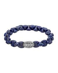 John Hardy | Blue Batu Classic Chain Silver Bracelet 10mm | Lyst