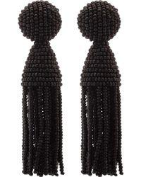Oscar de la Renta Blue Classic Short Tassel Earrings