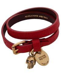 Alexander McQueen - Red Skull Charm Double Wrap Bracelet - Lyst