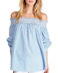Polo Ralph Lauren - Blue Striped Off-the-shoulder Top - Lyst
