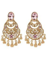 Oscar de la Renta - Metallic Crystal Filigree C Earrings - Lyst