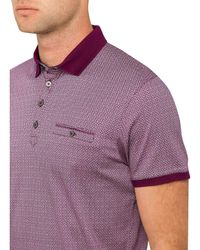 Ted Baker - Red Ss Printed Polo for Men - Lyst