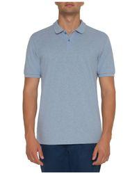 David Jones Blue Textured Uv Golf Shirt for men