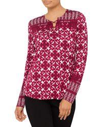 NYDJ   Red Batik Print Long Sleeve Top   Lyst