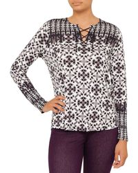 NYDJ | Gray Batik Print Long Sleeve Top | Lyst