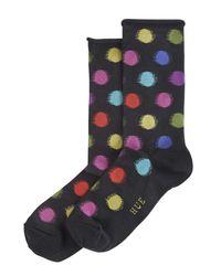 Hue - Black Blurred Dots Roll Top Sock - Lyst