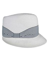 Morgan Taylor - White Paper Braid Visor/fedora With W/stripe Band for Men - Lyst