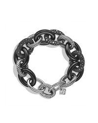 David Yurman - Blue Midnight Mélange Oval Large Link Bracelet With Diamonds, 20mm - Lyst