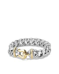 David Yurman - Metallic Buckle Bracelet In Silver And 14k Gold, 14mm - Lyst