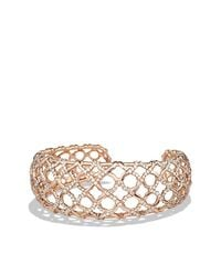 David Yurman - Metallic Venetian Quatrefoil Narrow Cuff Bracelet With Diamonds In 18k Rose Gold, 24mm - Lyst