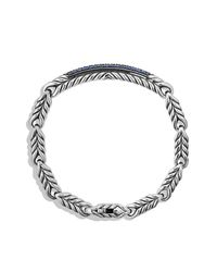 David Yurman - Chevron Id Bracelet With Blue Sapphire for Men - Lyst