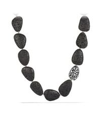 David Yurman - Black Dy Signature Collection Naturals Bead Necklace With Canary Lava And Diamonds - Lyst