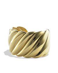 David Yurman - Metallic Wide Sculpted Cable Cuff Bracelet - Lyst