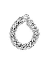 David Yurman | Metallic Buckle Bracelet With Diamonds In Silver, 14mm | Lyst