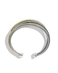 David Yurman - Metallic Crossover Four-row Cuff Bracelet With 18k Gold, 21mm - Lyst