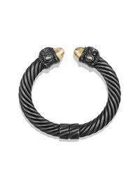 David Yurman - Renaissance Bracelet With Black Diamonds And 18k Gold, 10mm - Lyst