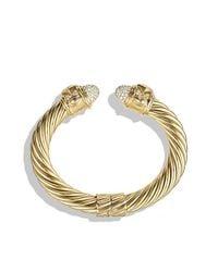 David Yurman - Metallic Renaissance Bracelet With Diamonds In 18k Gold, 10mm - Lyst