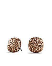 David Yurman - Brown Pavé Earrings With Cognac Diamonds In 18k White Gold - Lyst
