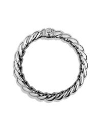 David Yurman | Metallic Hampton Cable Bracelet With Diamonds, 14mm | Lyst