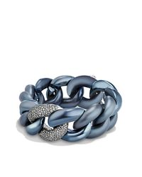 David Yurman - Blue Belmont Curb Link Bracelet With Gray Diamonds In Titanium With An Accent Of 18k White Gold - Lyst