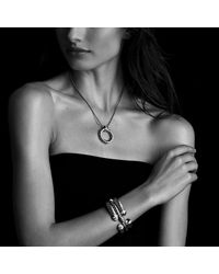 David Yurman - Metallic Sculpted Cable Bracelet With Diamonds And 18k Gold, 5mm - Lyst