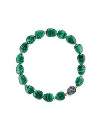 David Yurman - Green Delta Bead Necklace With Malachite, Color Change Garnet, Gray Sapphire And 18k Gold - Lyst