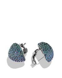 David Yurman | Pavé Earrings With Color Change Garnets In 18k White Gold | Lyst