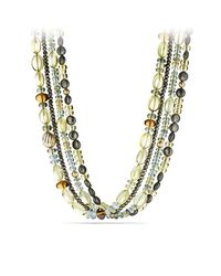 David Yurman - Pink Dy Signature Bead Necklace With Aquamarine, Lemon Citrine And Pyrite In 18k Gold - Lyst