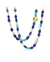 David Yurman - Blue Dy Signature Bead Necklace With Lapis Lazuli, Lemon Citrine And Turquoise In 18k Gold - Lyst