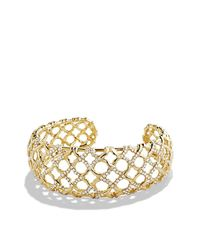 David Yurman - Metallic Venetian Quatrefoil Narrow Cuff Bracelet With Diamonds In 18k Gold - Lyst