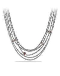 David Yurman - Necklace With Pink Tourmaline, Rhodalite Garnet And 18k Yellow Gold - Lyst