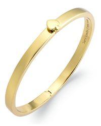Kate Spade | Metallic 12k Gold-plated Spade Hinged Thin Bangle Bracelet | Lyst