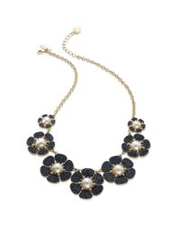 kate spade new york Blue New York Goldtone Navy Bead Imitation Pearl Floral Graduated Necklace