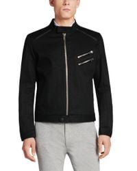 HUGO - Black Plain-coloured Extra-slim-fit Jacket In New Wool: 'addys' for Men - Lyst