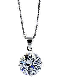 Carat* | White Round 4 Prongs 2ct Solitaire Pendant Necklace | Lyst